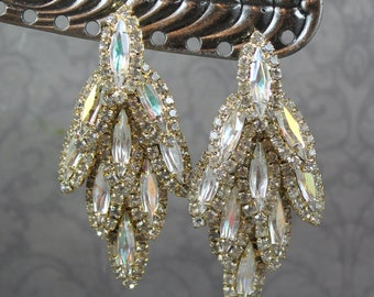 Vintage 1980s to 1990s Pierced Clear Aurora Borealis Coated Rhinestone Gold Tone Teardrop Statement Earrings