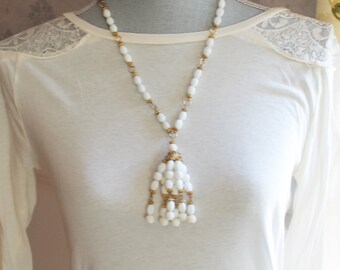 Vintage White and Yellow Gold Beaded Tassel Necklace