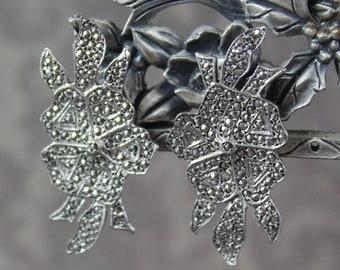 Vintage Silver Marcasite Floral Pierced Earrings