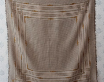 Vintage Bartolomei Soft Brown and Ivory Woven Buckle Print Women's Scarf