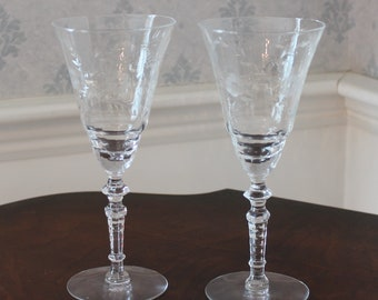 Set of 2 Vintage Libbey Rock Sharpe Mid Century Etched Floral Tall 8 Ounce Water or Wine Glasses