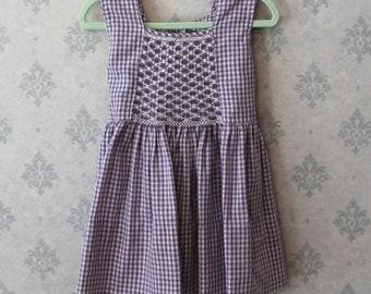 Vintage 1960s Lavender and White Cotton Sleeveless Smocked Toddler's Dress