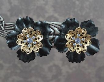 Vintage Matte Black and Gold Filigree Round Flower Blue Rhinestone Clip On Earrings