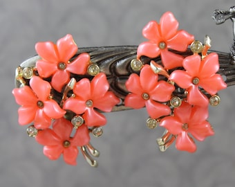 Vintage Claudette Bright Peach Floral Cluster Large Gold Tone Rhinestone Clip On Earrings