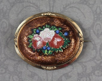 Antique Victorian 1800s Oval Goldstone Floral Mosaic Gold Filled Brooch