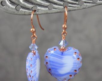 Light Blue and Copper Pressed Czech Glass Heart Dangle Earrings