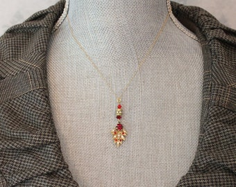 Vintage Red and Clear Rhinestone Gold Leaf Pendant with Gold Fill Chain Necklace