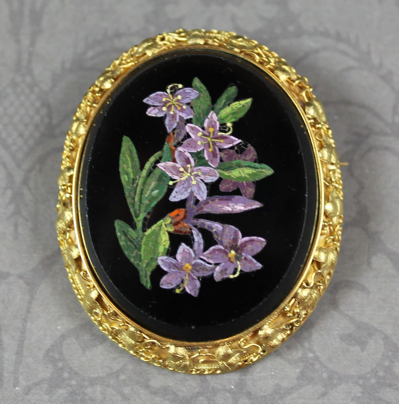 Vintage Black Onyx Purple Floral Micro Mosaic 18K Yellow Gold image 0