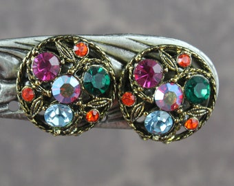Vintage Multi Colored Red, Blue and Green Bronze Colored Round Clip On Earrings