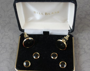 Vintage Bill Blass Black and Gold Cuff Link and Shirt Stud Men's Boxed Set