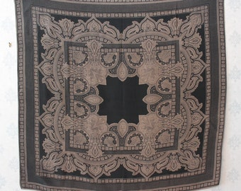Vintage Gray and Black Paisley Large Silk Scarf