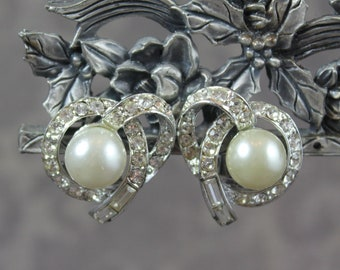 Vintage White Faux Pearl and Clear Rhinestone Silver Tone Coro Clip On Earrings