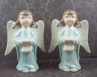 Vintage Pair of Hand Painted Blue and White Porcelain Christmas Singing Angels