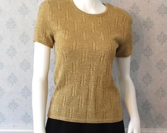 Vintage Breckenridge Short Sleeve Gold Metallic Knit Women's Petite Sweater