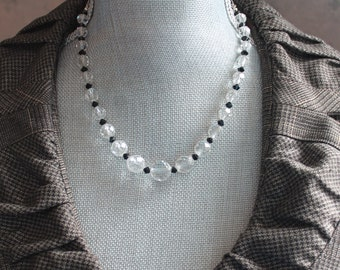 Vintage Black and Clear Faceted Glass Beaded and Oxidized Sterling Silver Chain Necklace