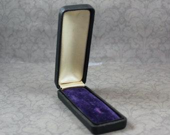 Vintage Black Purple Velvet and Satin Lined Stick Pin Jewelry Box
