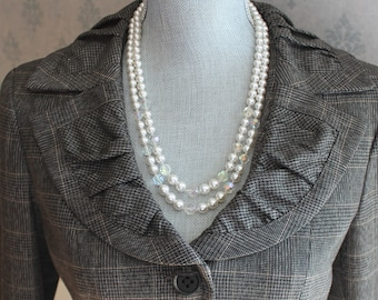 Vintage Double Strand White Faux Pearl and Crystal Beaded Japan Necklace