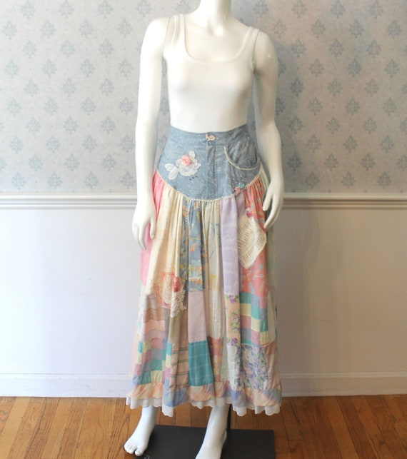 Vintage 1980s Patchwork, Demin and Lace Skirt