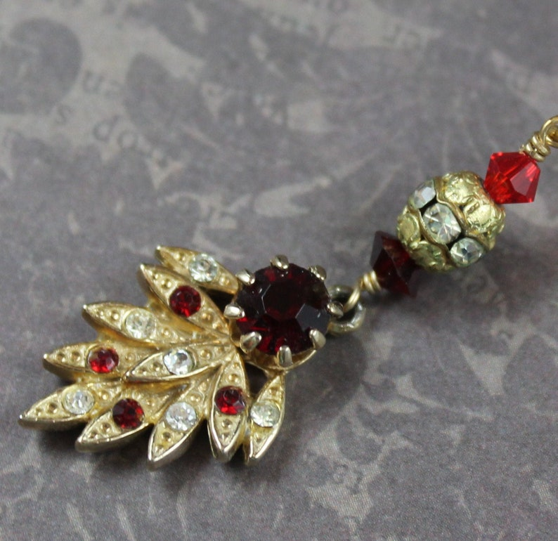 Vintage Red and Clear Rhinestone Gold Leaf Pendant with Gold image 0