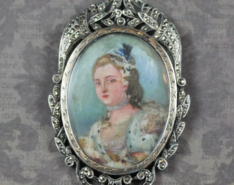 Antique French Silver and Marcasite Hand Painted Aristocratic Oval Brooch and Pendant