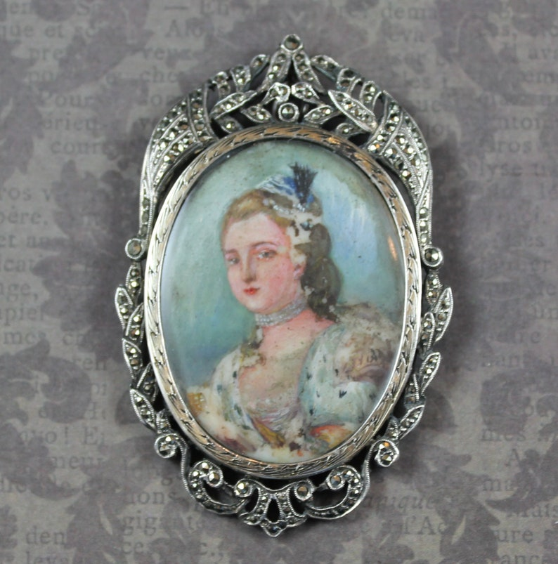 Antique French Silver and Marcasite Hand Painted Aristocratic image 0
