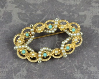 Brushed Gold Tone Scalloped Faux Pearl and Turquoise Beaded Pearl Wrapped Oval Brooch