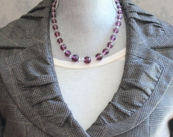 Vintage Graduated Deep Purple Amethyst & Clear Faceted Glass Beaded Necklace
