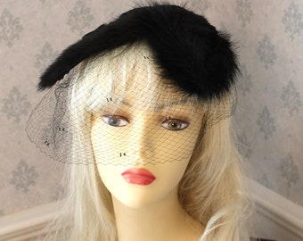 Vintage 1950s Therese Aherns Black Fur, Velvet Ribbon and Net Head Piece or Hat