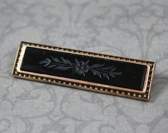 Antique Victorian Carved Floral Black Glass Rolled Gold Rectangular Bar Brooch