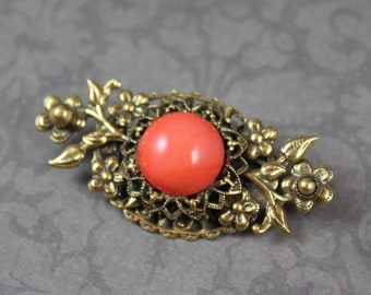 Vintage Original by Robert Victorian Style Golden Filigree Orange Coral Cabochon Centered Brooch