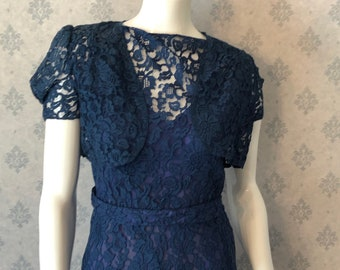 Vintage 1930s Blue Floral Lace Belted Dress with Matching Cropped Jacket
