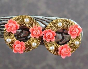 Vintage Golden Mesh Peach Flower and Faux Pearl Wreath Clip On Earrings