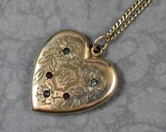 Vintage RBM Arctice Rhinestone Etched Monogrammed Gold Heart Locket Pendant Necklace