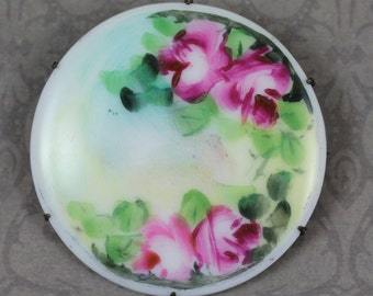 Antique Victorian Porcelain Hand Painted Pink and Green Rose Golden Round Large Brooch