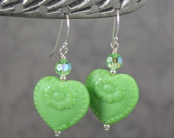 Lime Green, Swarovski Crystal and Sterling Silver Pressed Czech Glass Heart Dangle Earrings