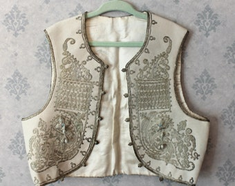 Vintage Child's White Wool and Silver Metallic Embroidered Traditional Turkish Ottoman Yelek Vest