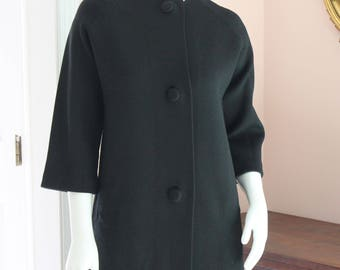 Vintage Heavy Knit Black 3/4 Length Sleeve Coat and Matching Scarf