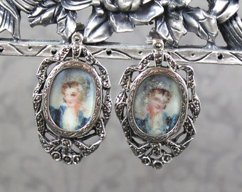 Antique French Silver and Marcasite Hand Painted Oval Pierced Earrings