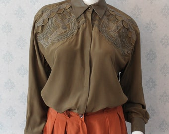 Vintage Late 1980s Mercedes & Adrienne Olive Green and Brown Silk and Faux Leather Trimmed Long Sleeve Blouse
