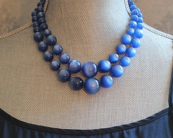 Vintage Double Strand Blue Lucite Plastic Graduated Beaded Necklace and Earrings Set