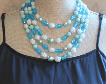 Vintage Western Germany Turquoise Plastic Beaded Multi Strand Necklace