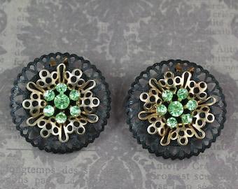 Vintage Matte Black and Gold Peridot Green Rhinestone Filigree Round Clip On Earrings