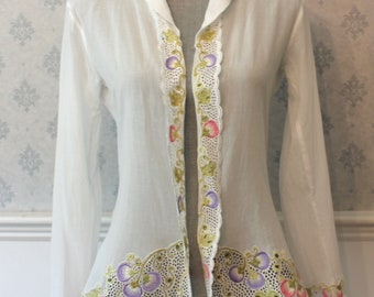 Vintage 1990s White Cotton Pink and Lavender Floral Trimmed Open Blouse