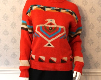 Vintage 1980s Evian Colorful Orange Aztec Long Sleeve Sweater