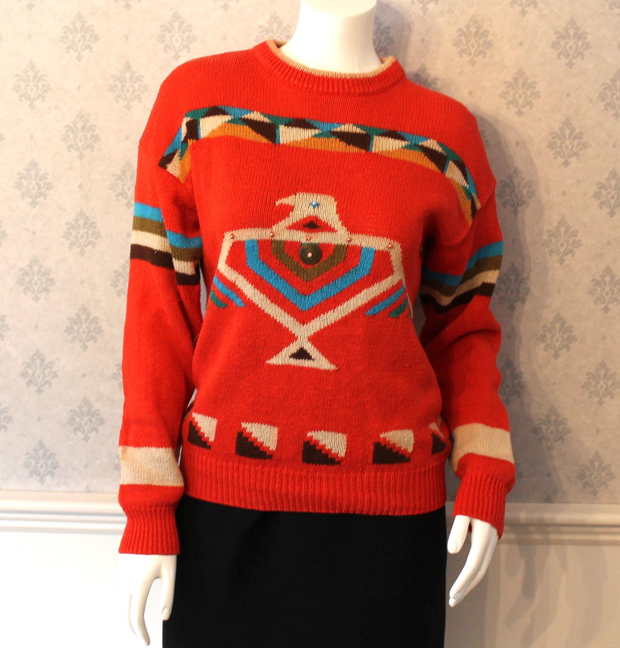 80s Sweatshirts, Sweaters, Vests | Women Vintage 1980S Evian Colorful Orange Aztec Long Sleeve Sweater $25.00 AT vintagedancer.com
