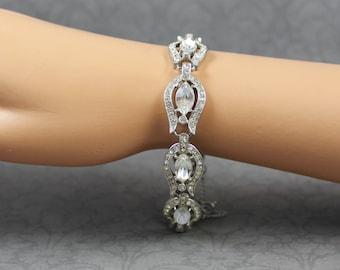 Vintage Mid Century Clear Rhinestone Silver Tone Linked Bracelet