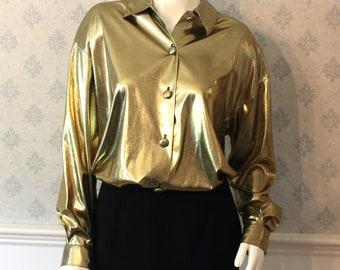 Vintage Renaissance Gold Metallic Long Sleeve Button up Collared Blouse