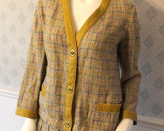 Vintage 1960s Sills by Bonnie Cashin Purple, Yellow and Green Plaid Wool Bouclé Suit