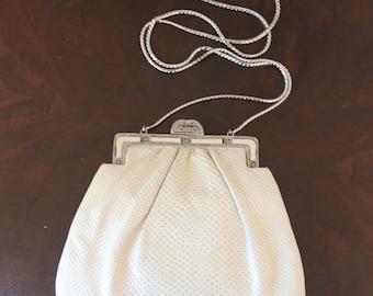 Vintage Judith Leiber Ivory Karung Leather Evening Shoulder Bag or Clutch Purse
