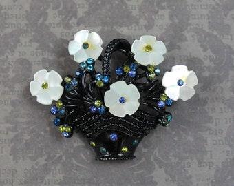 Vintage Mother of Pearl, Blue and Green Rhinestone Japanned Black Enamel Flower Brooch